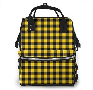 Mustard Yellow Buffalo Multi-Function Travel Backpack Nappy Bag,Fashion Mummy Bag