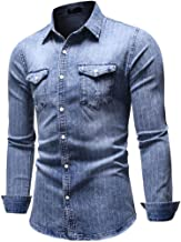 MIS1950s Mens Denim Shirts Long Sleeve Casual with Two Front Pockets Regular Fit Striped Button Down Shirts for Men