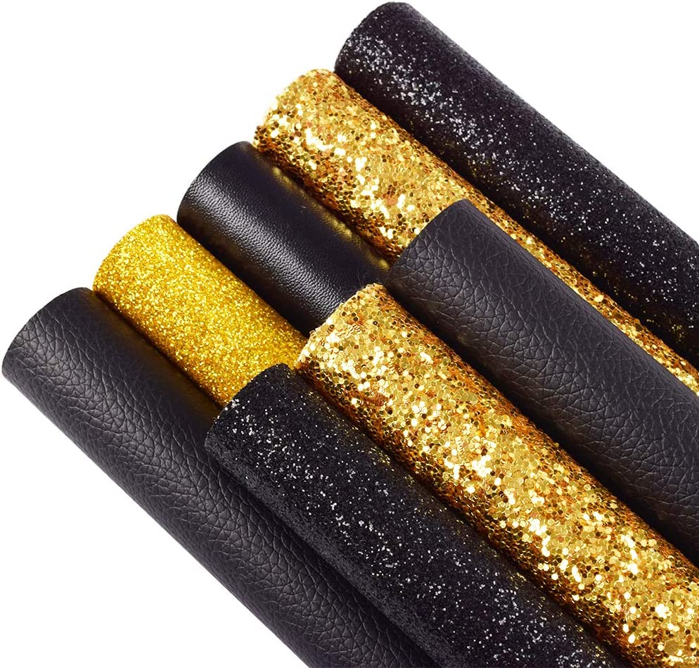 Ramya Tampa Mall 8PCS Faux Leather National products Sheets Chunky Sequin Mixed with Glitter