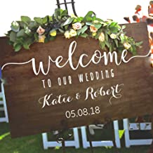 kinmes Vinyl Wall Art Inspirational Quotes and Saying Home Decor Decal Sticker Wedding Welcome Sign Stickers Rustic Wood Welcome Our Wedding Personalized Name Date