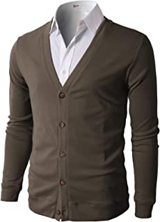 H2H Mens Casual Slim Fit Cardigans V-Neck Basic Designed Long Sleeve Button Down