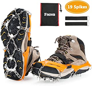 Crampons Ice Snow Grips Traction Cleats Shoes Grips with 19 Spikes for Womens Mens Kids Boots Shoes Safe Protect Lightweight Crampons, Hiking, Walking, Climbing, Jogging Mountaineering on Ice and Snow
