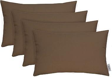 """RSH Décor Set of 4 Indoor Outdoor Decorative Rectangle Lumbar Throw Pillows Sunbrella Canvas Cocoa Cocoa (20"""" x 12"""")"""