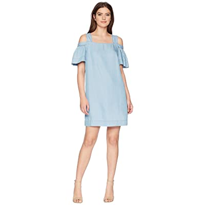 TWO by Vince Camuto Ruffled Cold Shoulder Tencel Dress (Vintage) Women