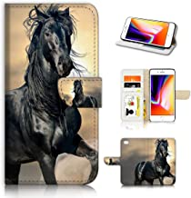 (for iPhone 7 Plus/iPhone 8 Plus) Horse Design Phone Case Wallet Cover Full Body Protection AD001 (Black Horse #31145)