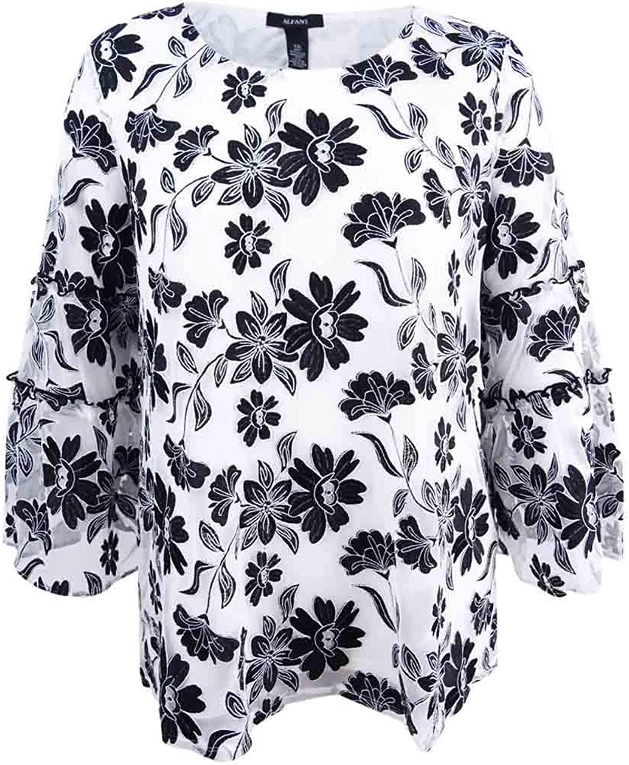 Alfani Women's Floral Embroidered SheerSleeve Top