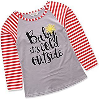 gllive Parent-Child Outfit, Letter Print Long Sleeve Stripe Shirts Tops Family Matching Costume