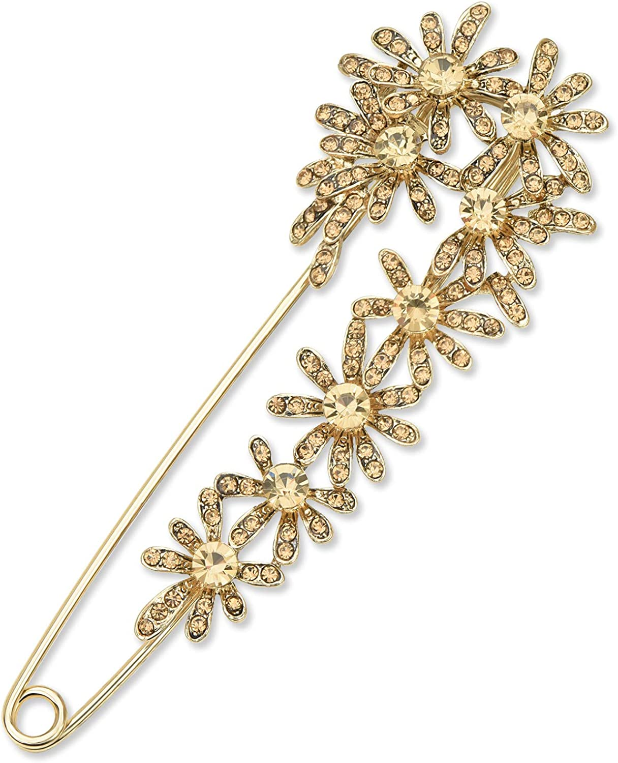 YYBONNIE Vintage Crystal Daisy Flower Large Safety Pin Brooch for Women Cardigan Hat Scarf Suit Sweater Pins Decorative Safety Pins