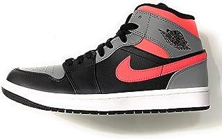 Jordan Nike Air 1 Mid Black Hot Punch White (Numeric_42)