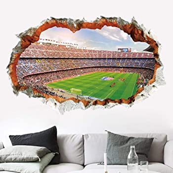 Wall Stickers Football Stadium Boys Bedroom Cool Smashed Decal 3D Art