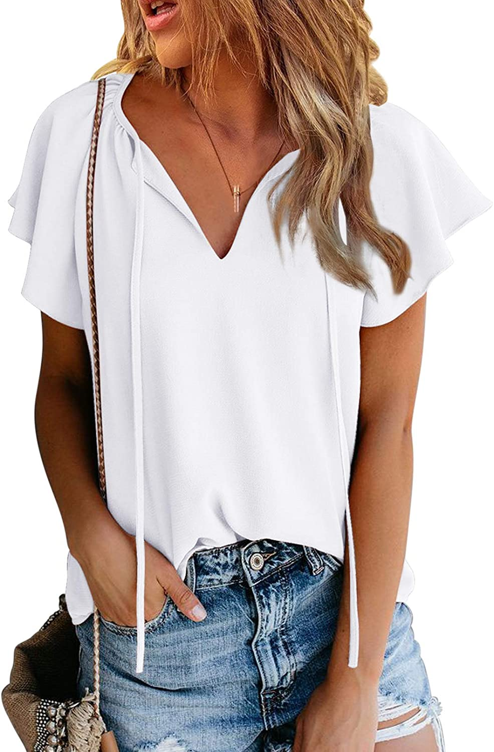 Ecrocoo Women's Casual Ruffled Short Sleeve Tee Tops Elegant V-Neck Blouse Shirts Summer Solid Color T-Shirt
