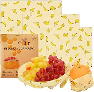 Beeswax Reusable Food Wraps 3 Pack of Sandwich Wrap Eco Friendly Bees Wrap Bowl Covers Sustainable Bees Wax Plastic Wrap for Food Storage (Banana Print, 3)