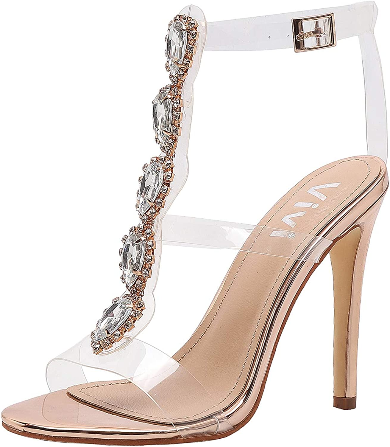 Vivi Womens gold Peep Toe Ankle Strap Buckle Rhinestones Clear Stiletto High Heels Size 10