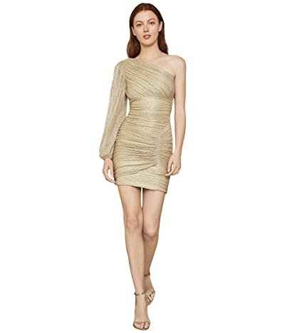 BCBGMAXAZRIA One Sleeve Cocktail Dress (Gold) Women