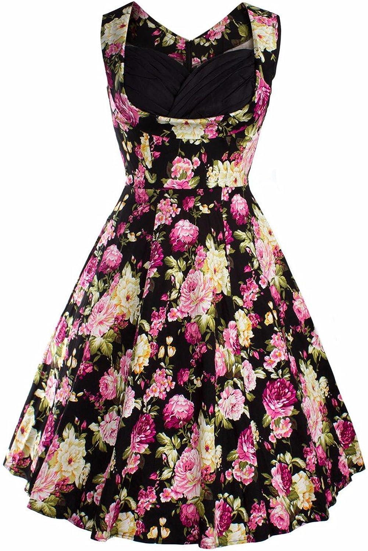 Samtree Womens Floral Dress,V Neck Sleeveless Rockabilly Swing Vintage Retro Style