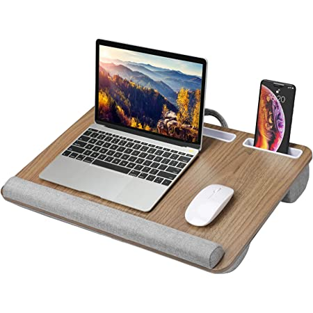 HUANUO Lap Desk - Fits up to 17 inches Laptop, Built in Wrist Pad for Notebook, Tablet, Laptop Stand with Tablet, Pen & Phone Holder - HNLD9