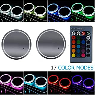 LED Cup Holder Light, MASO 2x Colorful LED Car Cup Holder Pad Mat With Waterproof Bottle Drinks Coaster Built-in Lamp, Mini USB Rechargeable Car Interior Atmosphere Light, with remote control