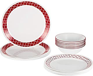 Corelle 2724574014864 Vitrelle Crimson Trellis Dinnerware Set, 18 Pieces - White & Red