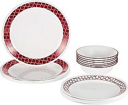 طقم أواني طعام فايتريل كريمزون تريليس من كوريل 2724574014864 – 18 قطعة – أبيض و أحمر