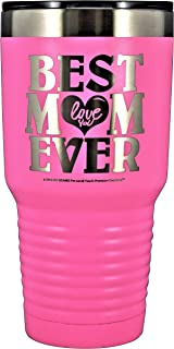 """GIFT FOR MOM – """"BEST MOM EVER - LOVE YOU"""" GK Grand Engraved Stainless Steel Vacuum Insulated Tumbler Travel Coffee Mug Hot & Cold Drink Wine Mothers Day Birthday Christmas (Pastel Pink, 30oz)"""