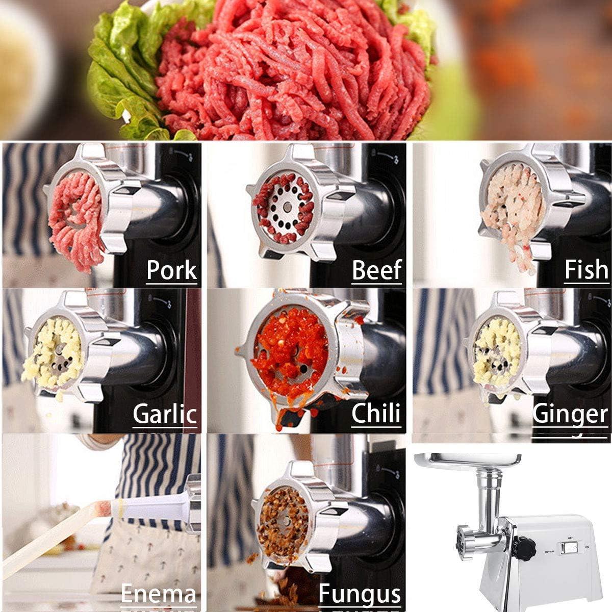 CHUTD Huishoudelijke vleesmolen met krachtige 1000 W koperen motor, elektrische roestvrij stalen worstfabrikant, voor worstfabrikanten, vleesmolf-hakmachine, zwart grijs