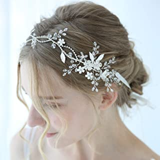 SWEETV Crystal Bridal Headband Silver, Flower Hair Vine Wedding Headpiece, Rhinestone Hair Accessories for Brides