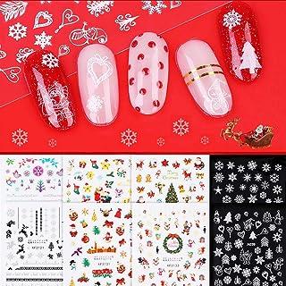 8 Sheets Premium Christmas Nail Art Stickers, Aruza Xmas 3D Self-Adhesive Nail Decals, Santa Claus Reindeer Snowflake Snow...