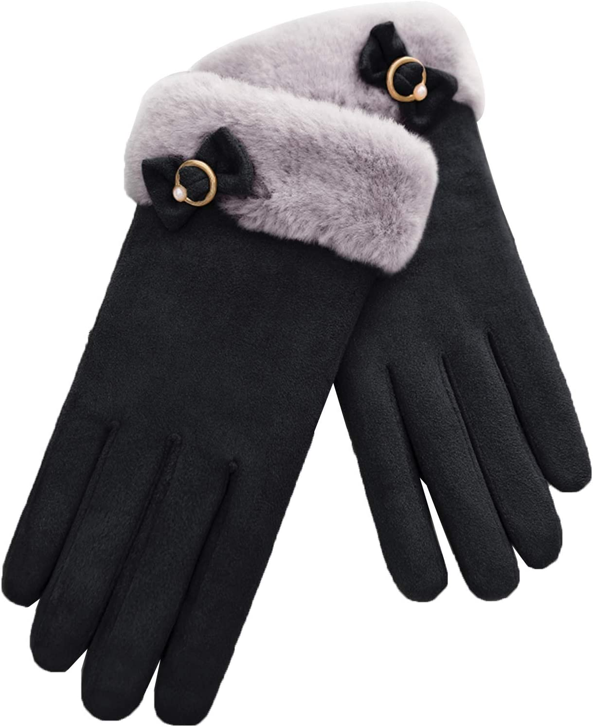 FOLDING Gloves Women's Winter Warm Touch Screen Thick Gloves Windproof Texting Driving Gloves (Color : Black)