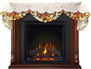 Linens, Art and Things Embroidered Fall Leaf Fireplace Mantle Scarf 19 x 90 Inches