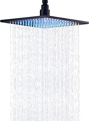 Senlesen LED High Pressure Rainfall 10-inch Replacement Square Shower Head Without Shower Arm Black Color