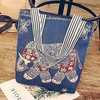 Fashion Women's Fashion Zipper Canvas Shoulder Portable Vertical Square Bucket Bag Shopping Bag (Color : Blue)