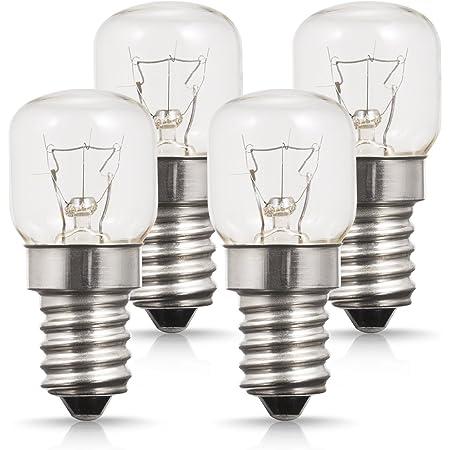 Lot de 4 Lumière Du Four, Petit culot à vis E14 Base, 25W Ampoule Halogène, Blanc Chaud 2700K, 200 Lumen, Non Dimmable, Résistant jusqu'à 300° C Lumiere pour Au Four/Four à micro-ondes/Réfrigérateur