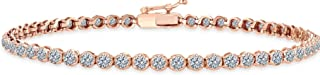 Beverly Hills Jewelers Beautiful 1.00 Carat tw Natural Round Brilliant Cut Shiny White Diamond Tennis Bracelet in Rose Gold.Secure Double Clasp. Fancy Bracelet Box Included.