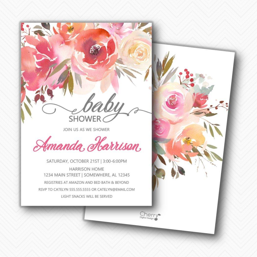 Pink Floral Baby Spring new work Shower Envelopes Included Invitation G Manufacturer direct delivery