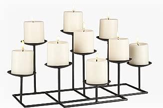 Southern Enterprises Candelabra Black Metal Frame Geometric Transitional, 9 Candles, Style