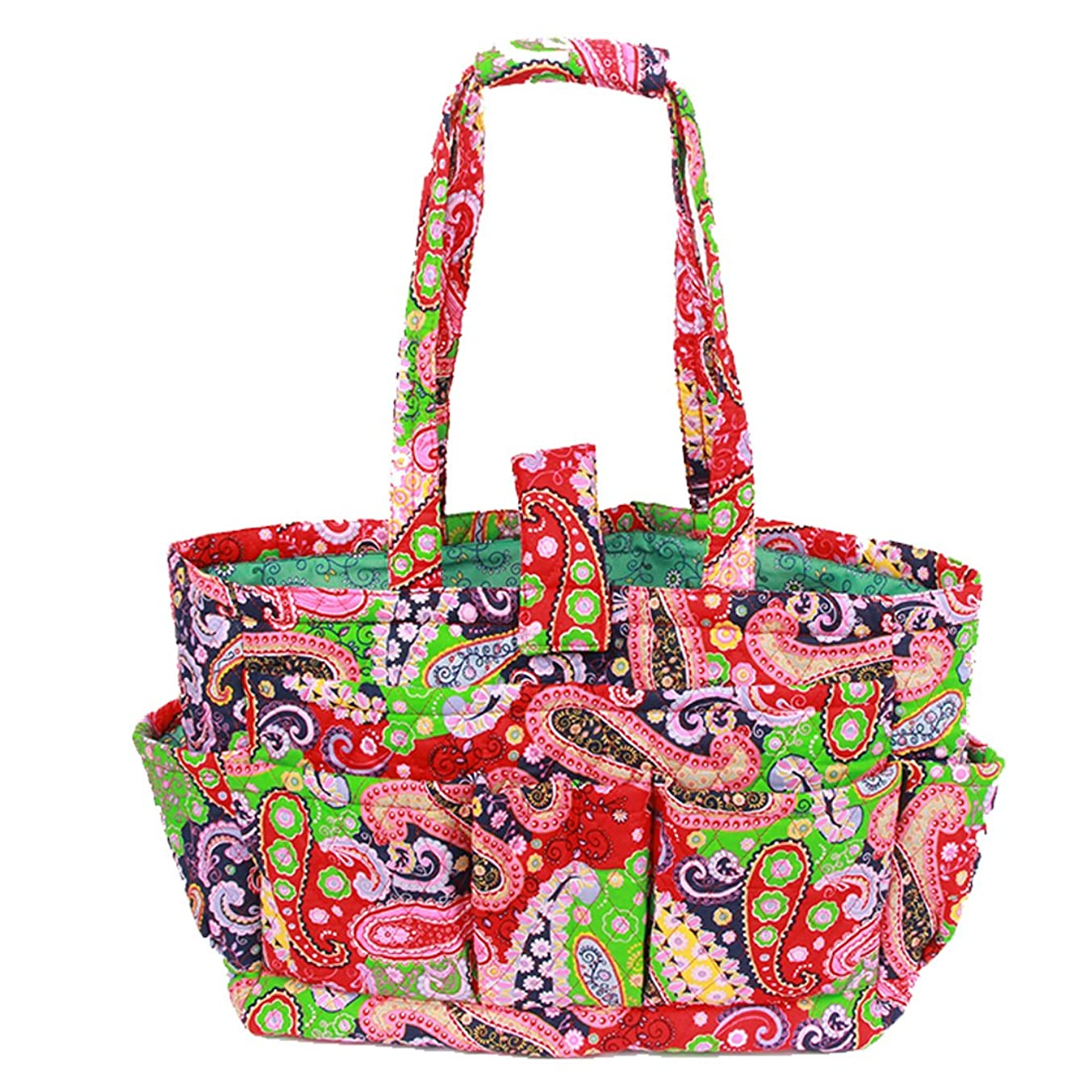 Floral Quilted Cotton Needle Bag Knitting Bag Yarn Storage Tote (Red)