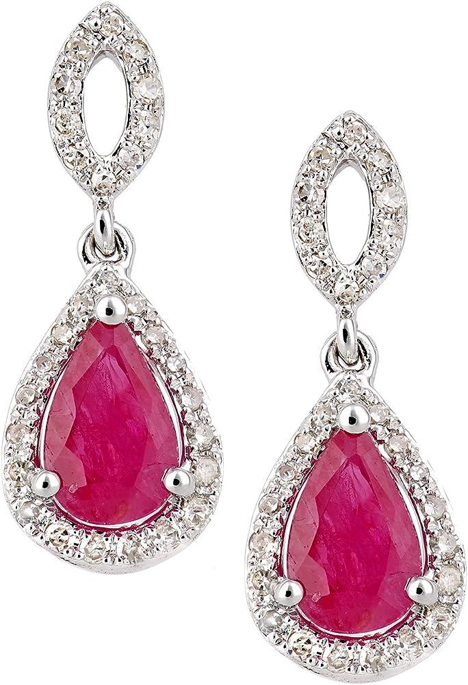 Orecchini da donna naava  in oro bianco 18k, con diamante e pietra semipreziosa DE1610W18RU