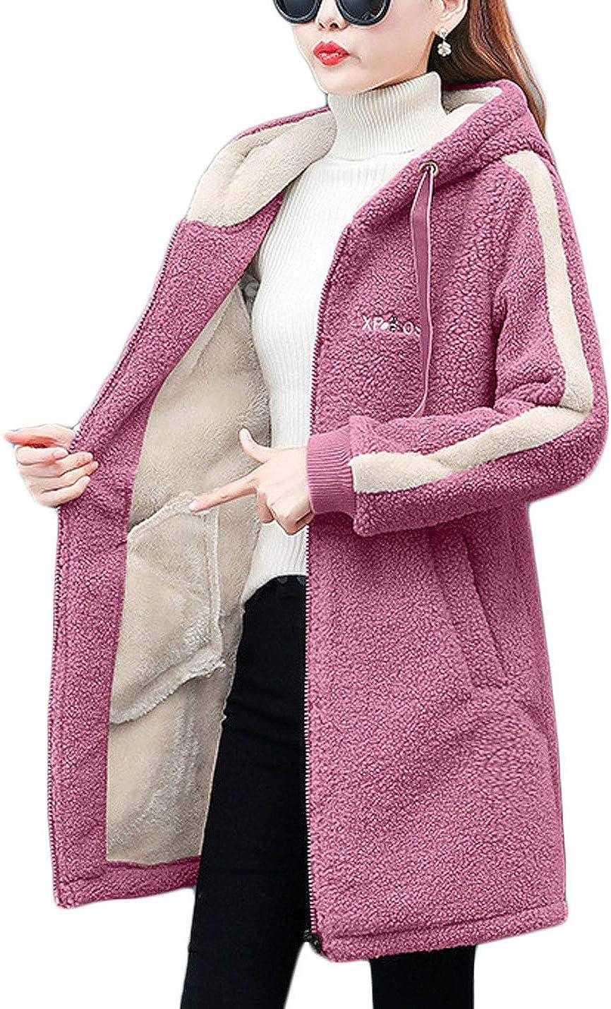 Jenkoon Womens Zip Up Faux Shearling Coat Fleece Lined Hooded Jacket
