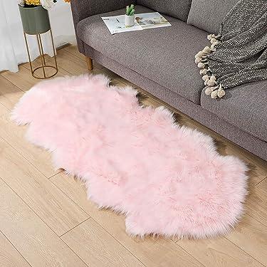 Faux Fur Sheepskin Rug 2.6ft x 6ft Faux Fleece Fluffy Area Rugs Carpet for Living Room Bedroom Sofa (2.6ft x 6ft, Pink)