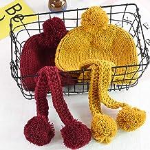 geiqianjiumai Nuevas Orejeras para niños Gorro cálido Hombres y Mujeres Baby Big Ball Knit Hat Marea Establece Cabeza Sombrero de Lana código de cúrcuma