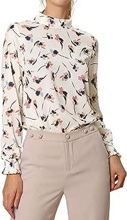 Allegra K Women's Floral Top Mock Neck Long Sleeve Work Blouse