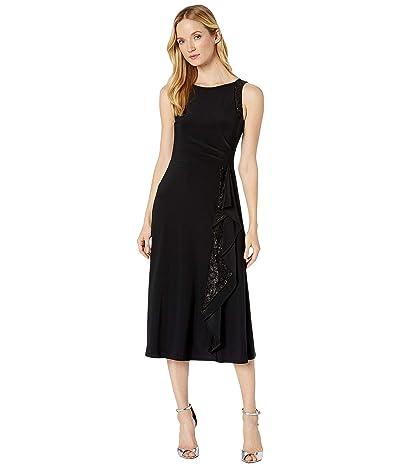 LAUREN Ralph Lauren Lace-Trim Jersey Dress (Black) Women