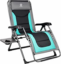 EVER ADVANCED Oversize XL Zero Gravity Recliner Padded Patio Lounger Chair with Adjustable Headrest Support 350lbs, Green