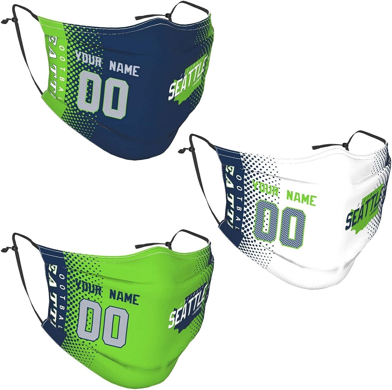 3 PCS Custom Football Face Bandana with Filters Balaclava Adjustable Reusable Washable Face Bandana Gift for Women Men