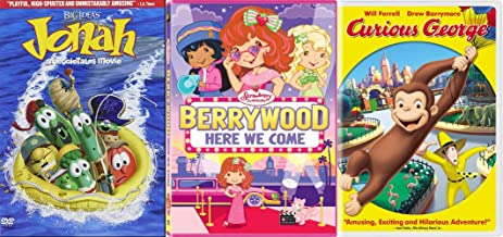 Gluten Free & Nutritious Childrens Family Fun DVD Collection - Big Idea's Jonah: A VeggieTales Movie (2-Disc Collector's Edition), Curious George, & Strawberry Shortcake: Berrywood Here We Come Bundle
