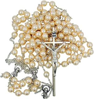 Silver Toned Wedding Lasso Rosary with Acrylic Prayer Bead for Married Couple, 33 Inch