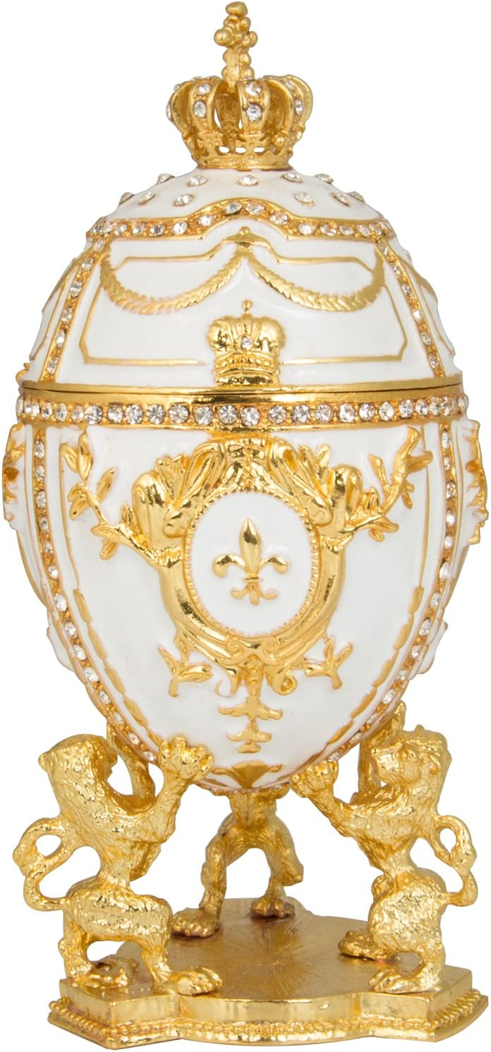 QIFU Hand Painted Regular discount Enameled Faberge Style Hinged Egg Decorative J Max 58% OFF