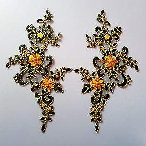 1 Pair Fine Lace Fabric Patches Embroidered Trim Applique Decor Dress Decoration (Black+ Golden)