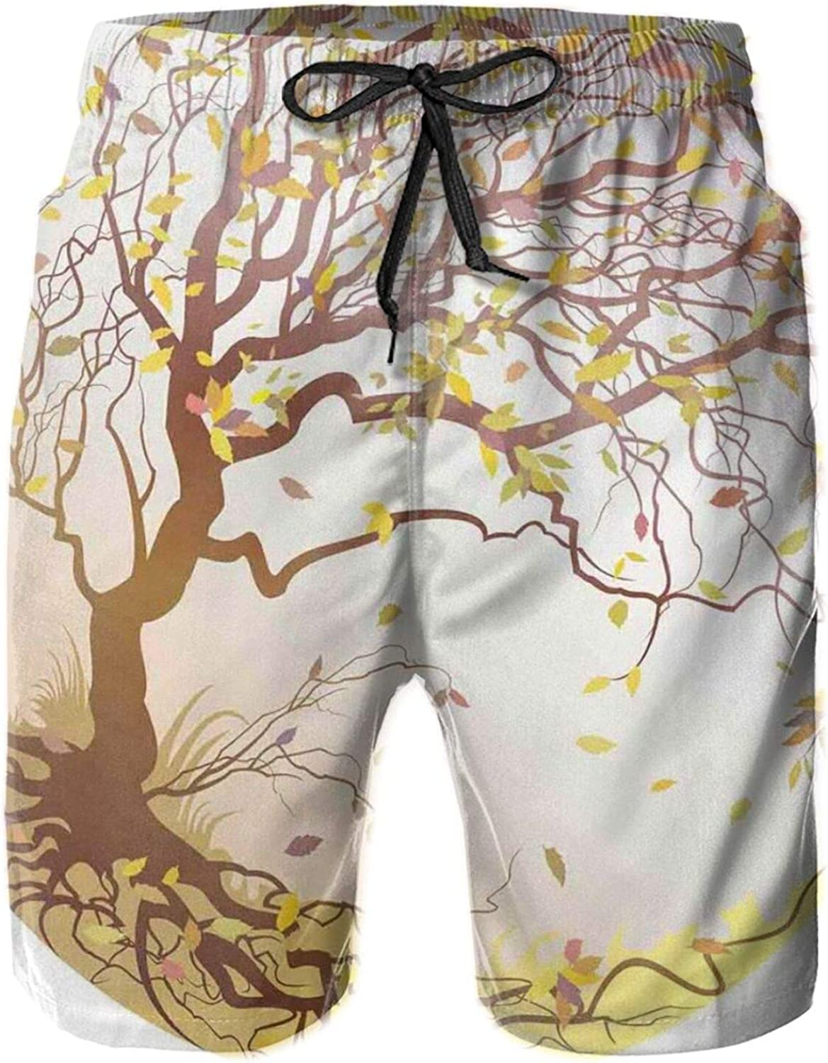 Autumn Tree On A Hill in Windy Weather Leaves Flying Fall Nature Circle Composition Mens Swim Trucks Shorts with Mesh Lining,M