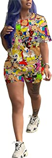 Womens Casual 2 Piece Short Sleeve Print Shirt Biker Shorts Sets Cute Summer Outfits Active Tracksuits